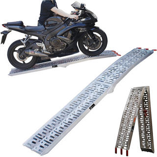 Black aluminium folding motorcycle loading ramp
