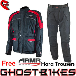 View Item ARMR Moto Kiso Black Red Jacket and Free Hara Trousers
