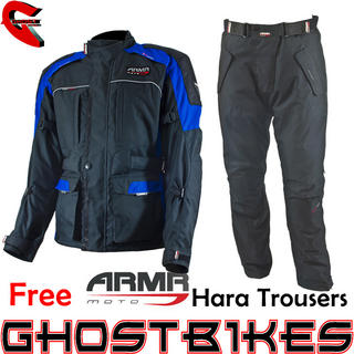 View Item ARMR Moto Kiso Black Blue Jacket and Free Hara Trousers