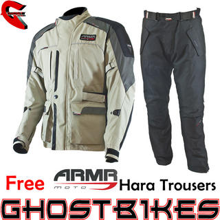 View Item ARMR Moto Kiso Jacket Beige Black and Free Hara Trousers
