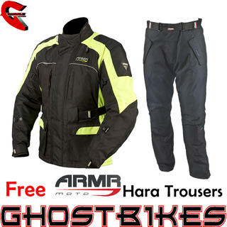View Item ARMR Moto Kiso Black Fluorescent Jacket and Free Hara Trousers