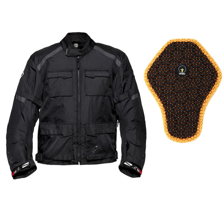Black Venture Motorcycle Jacket And Back Protector Insert