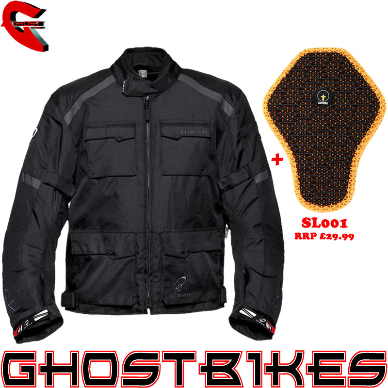 Image of Black Venture Motorcycle Jacket And Back Protector Insert
