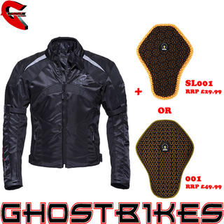 View Item Black Spitfire Motorcycle Jacket And Back Protector Insert