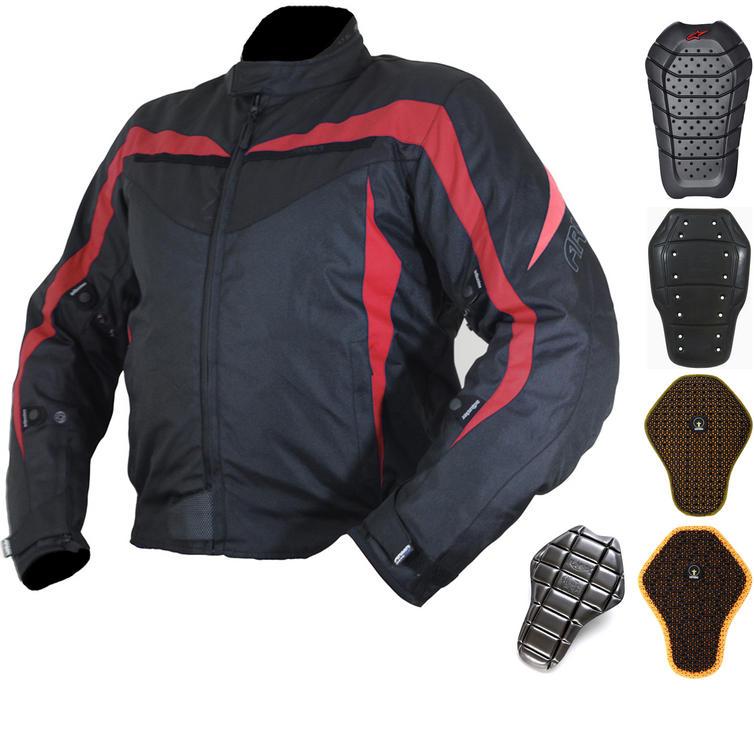 Armr Moto Miura Black-Red Motorcycle Jacket And Back Protector