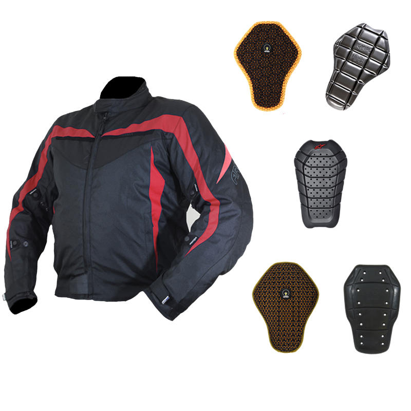 Image of Armr Moto Miura Black-Red Motorcycle Jacket And Back Protector