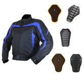 Armr Moto Miura Black-Blue Motorcycle Jacket And Back Protector