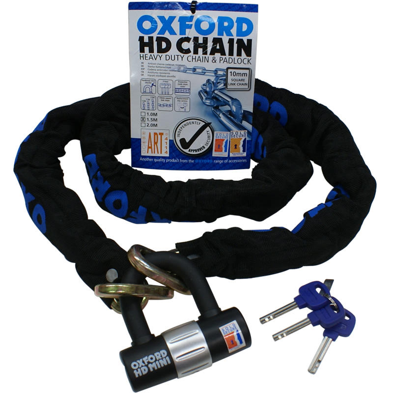 View Item Oxford HD Heavy Duty Motorbike 1m Chain & Lock