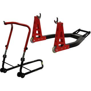 Black Pro Range Front Height Adjustable Head Stand & Heavy Duty Aluminium Rear Paddock Stand (B5065 & B5066)