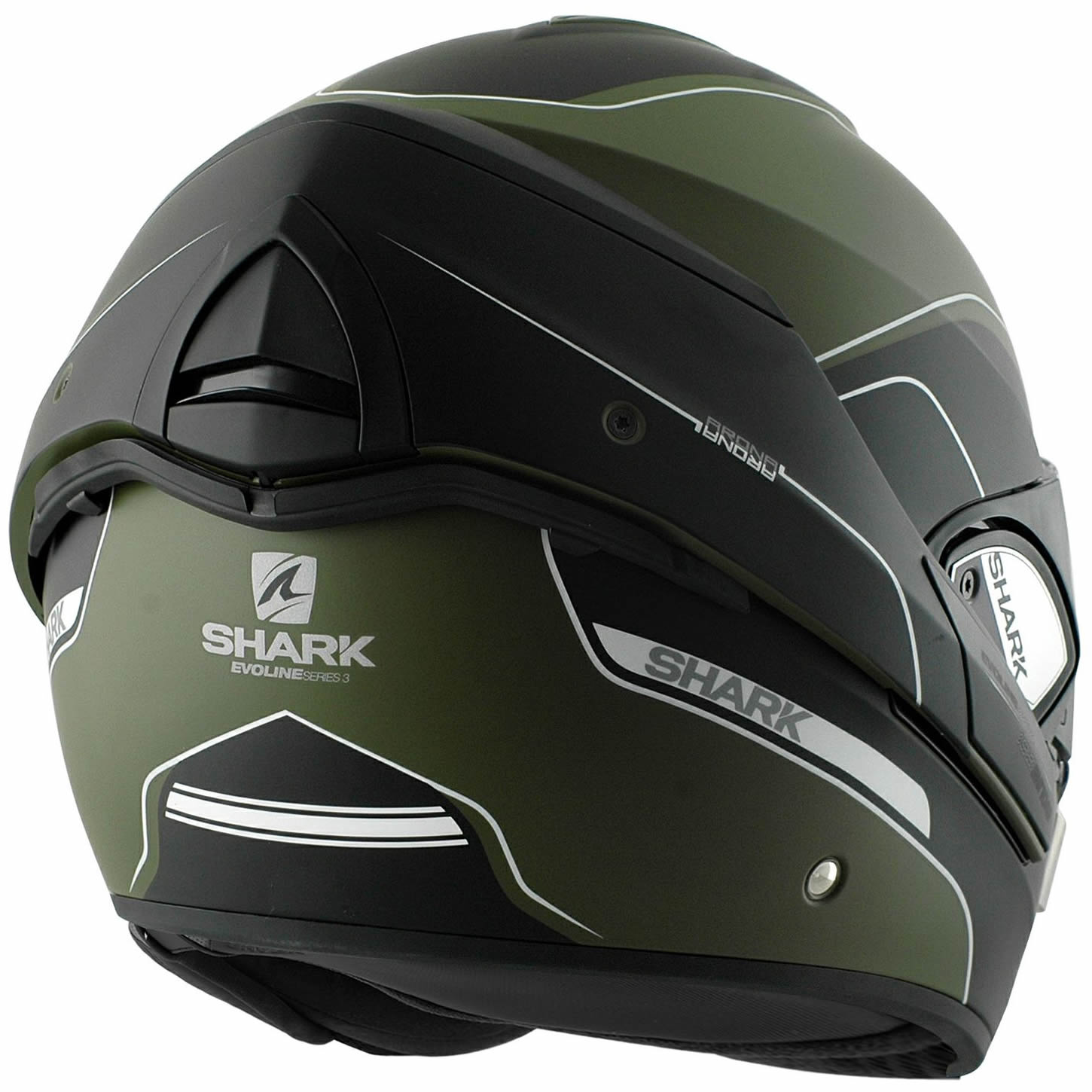 shark evoline series 3 arona matt green black motorbike helmet flip up front gkw ebay. Black Bedroom Furniture Sets. Home Design Ideas
