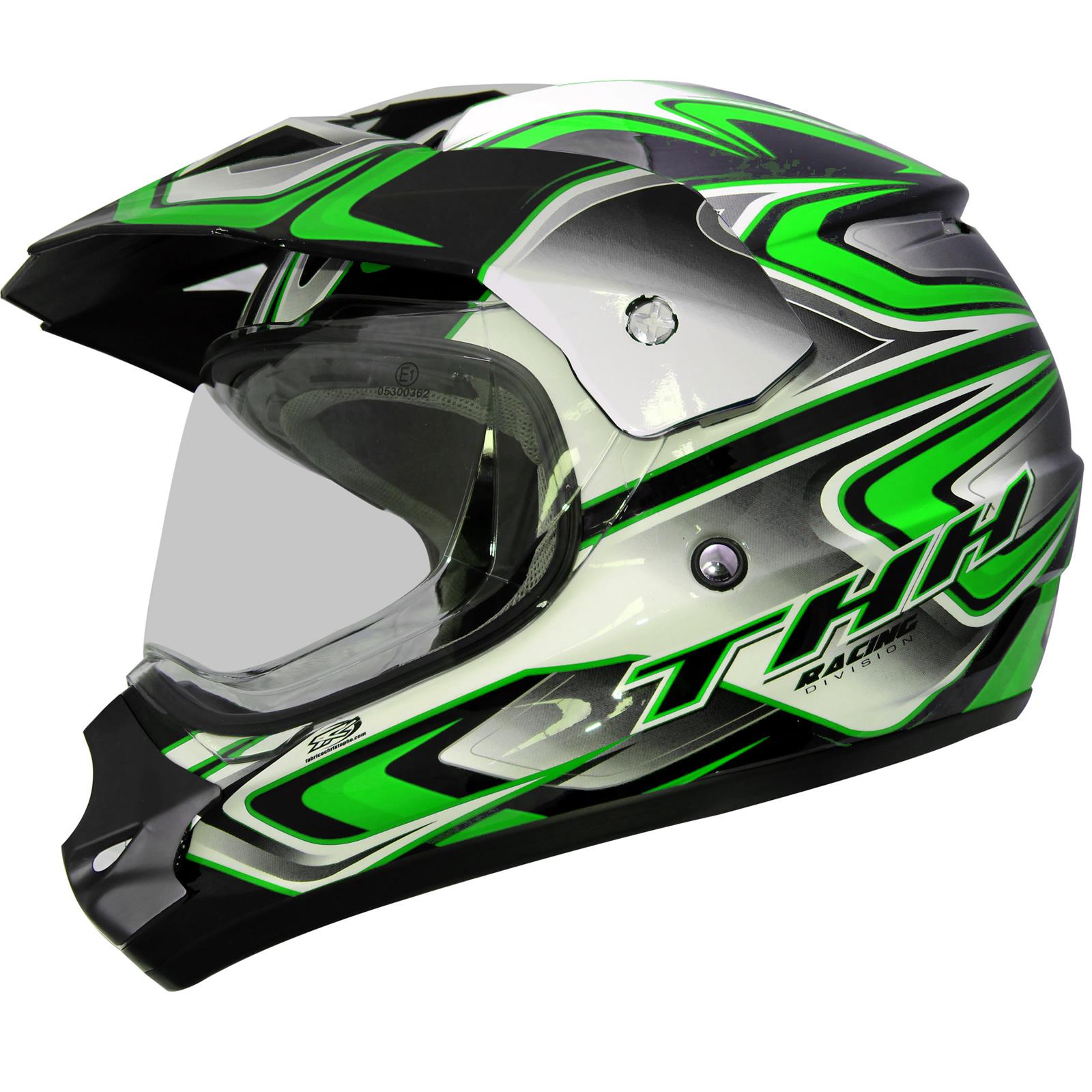 ... Green Dual Sport Helmet MX Motocross ATV Motorbike Motorcycle | eBay