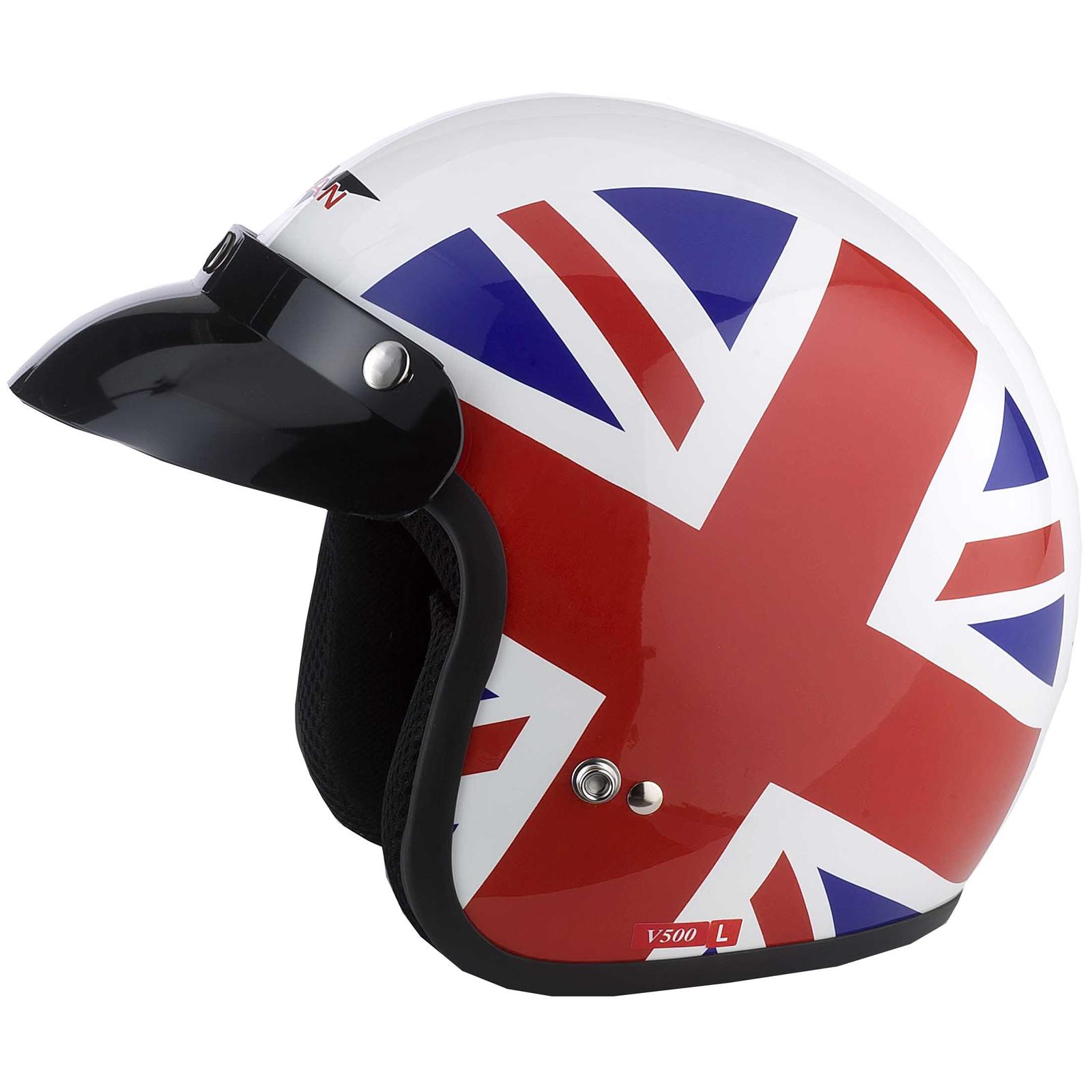 VCAN V500 Union Jack Roller Vespa Oldtimer Jet Helm Rot