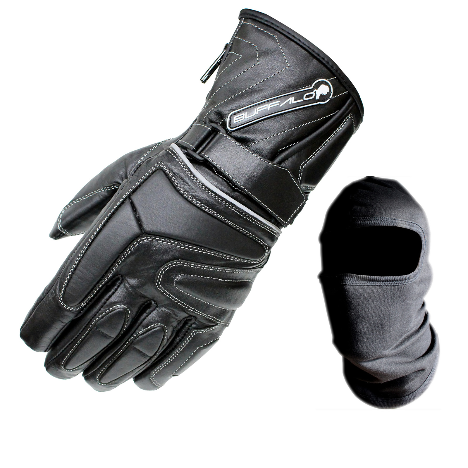 Motorcycle leather gloves waterproof - Buffalo Arctic Waterproof Wp Thermal Leather Motorcycle Scooter Winter Gloves Enlarged Preview