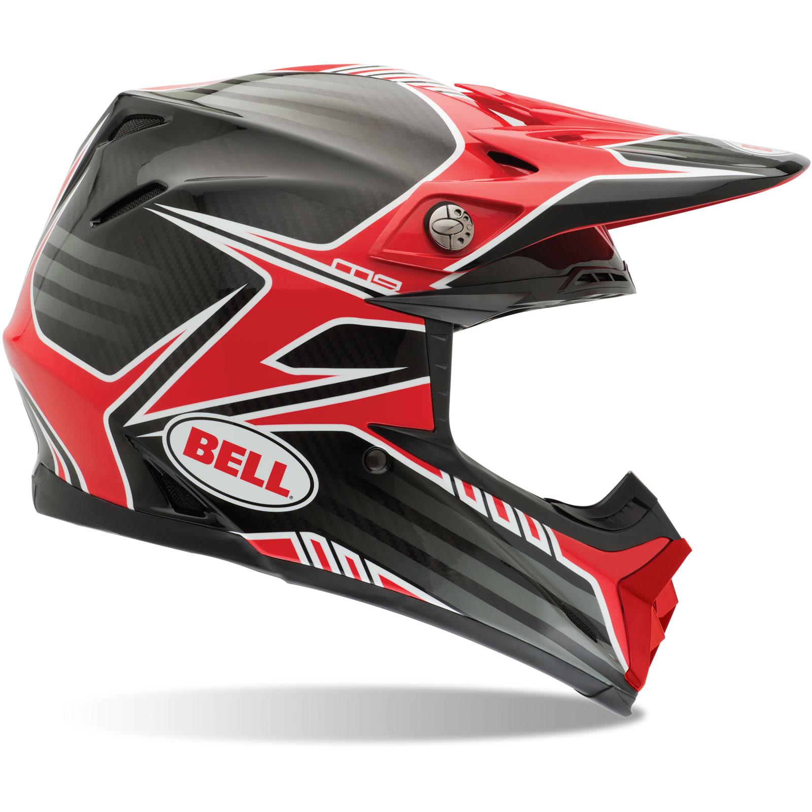bell moto 9 carbon fibre pinned red black white motocross helmet off road mx lid ebay. Black Bedroom Furniture Sets. Home Design Ideas