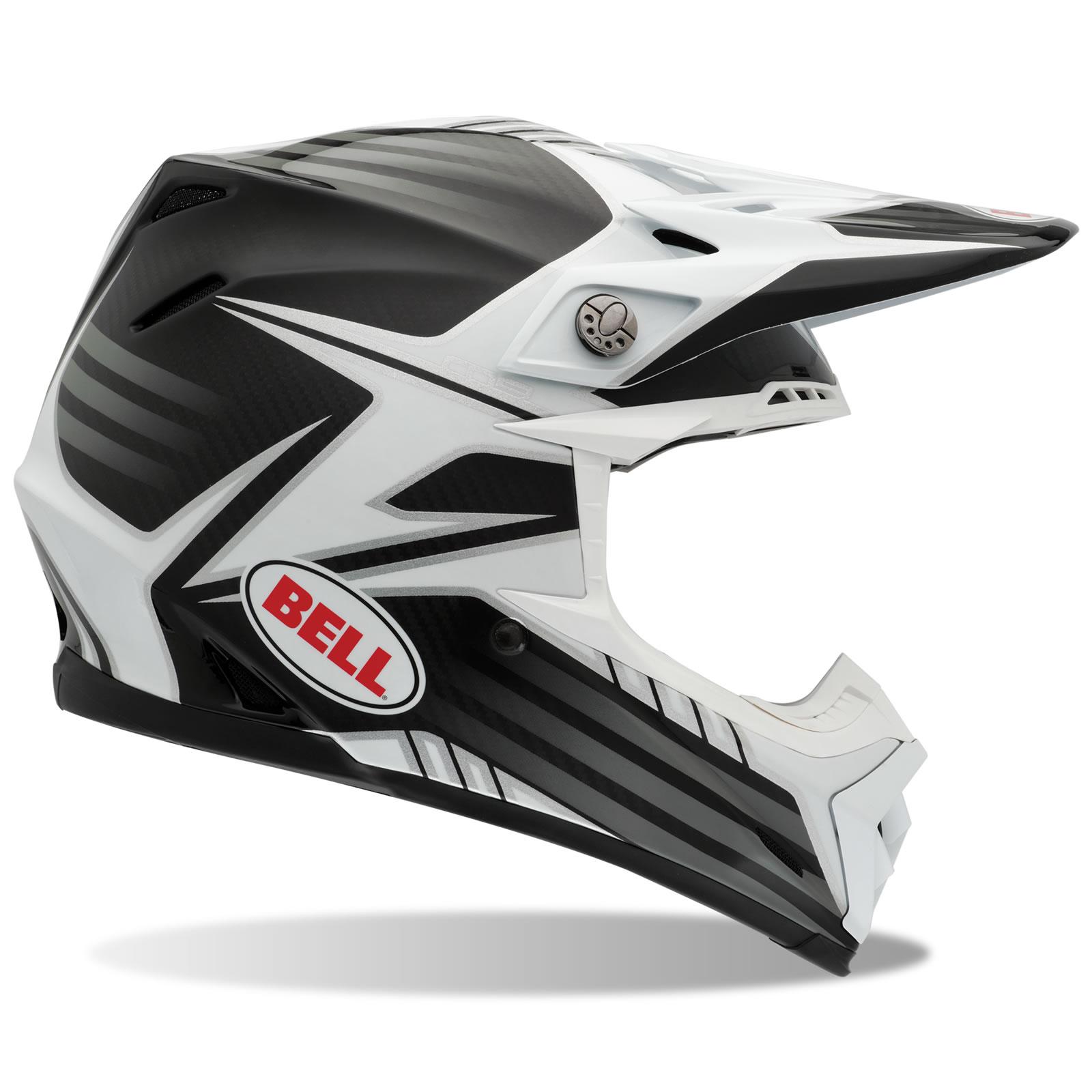 bell moto 9 carbon fibre pinned white black motocross helmet quad mx off road ebay. Black Bedroom Furniture Sets. Home Design Ideas