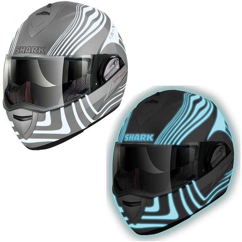 shark evoline series 2 st e tec lumi glow in the dark motorcycle crash helmet ebay. Black Bedroom Furniture Sets. Home Design Ideas