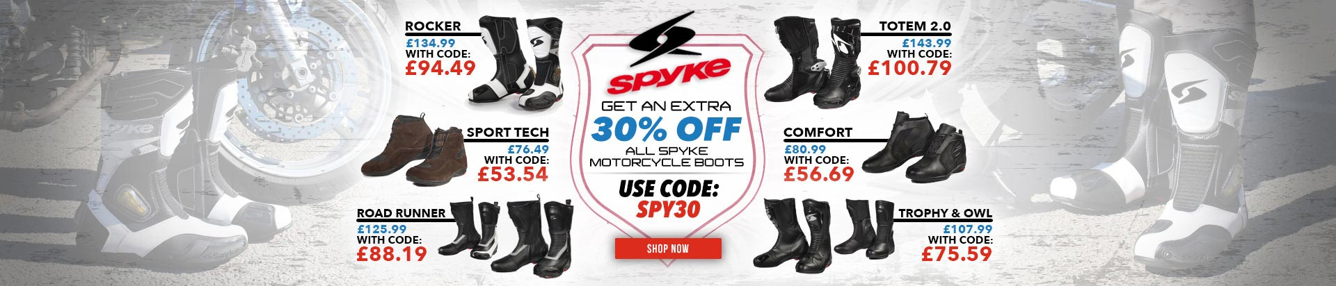 Spyke Boots 30% Off code SPY30!