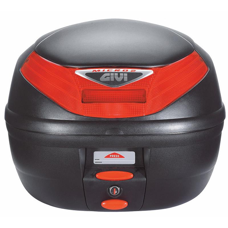 givi e260 micro 2 monolock motorcycle scooter hard top box case 26l e260n ebay. Black Bedroom Furniture Sets. Home Design Ideas