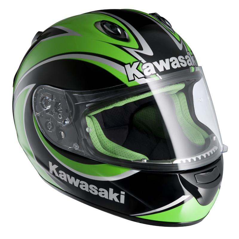 ... KAWASAKI NINJA ZX-R MOTORCYCLE CRASH HELMET GREEN M Enlarged Preview
