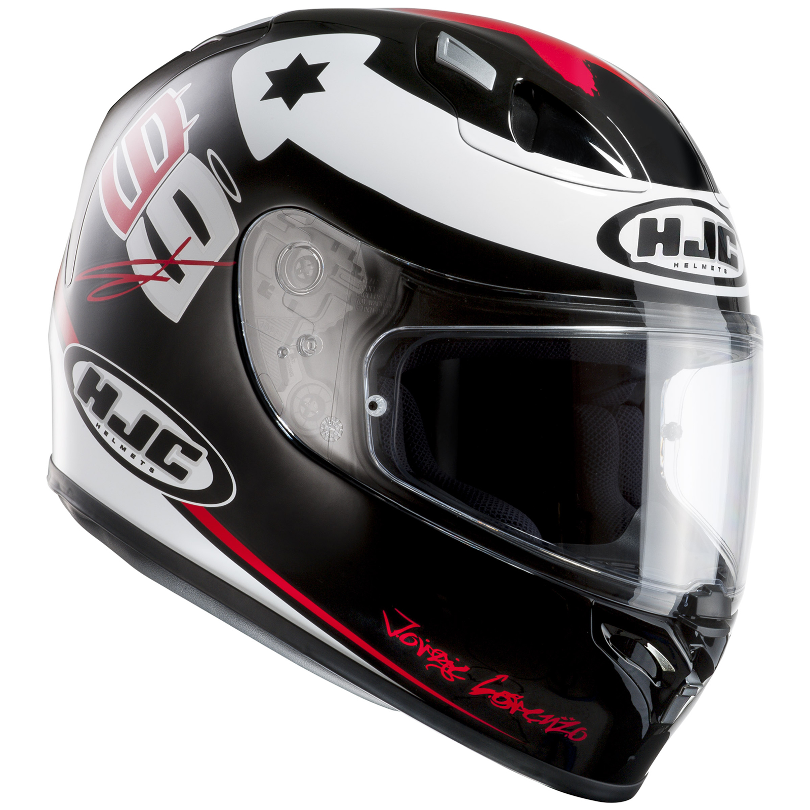 hjc fg 17 x fuera jorge lorenzo black white red motorcycle helmet replica acu ebay. Black Bedroom Furniture Sets. Home Design Ideas