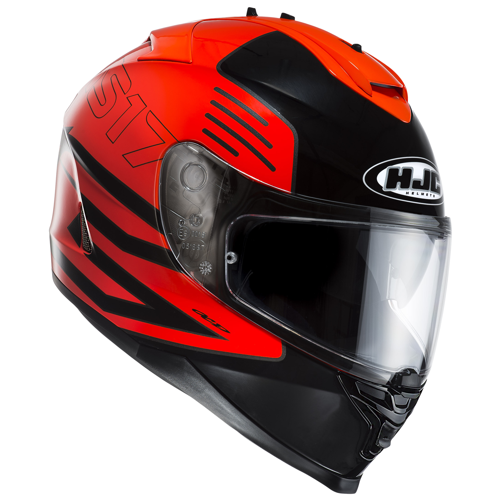 HJC IS-17 Genesis Orange Black Motorcycle Helmet Inner Sun ...