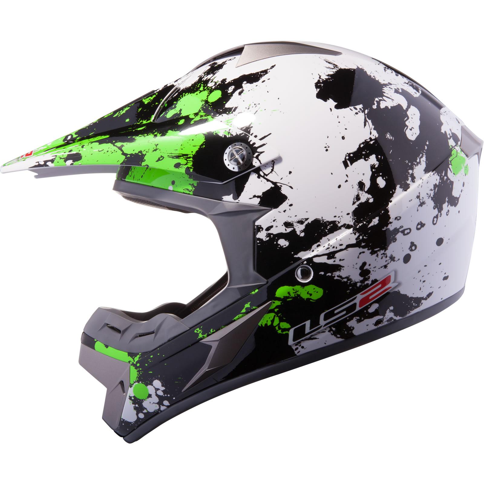 ... Blast White Black Green Motocross Helmet Moto-X ATV Off Road MX | eBay