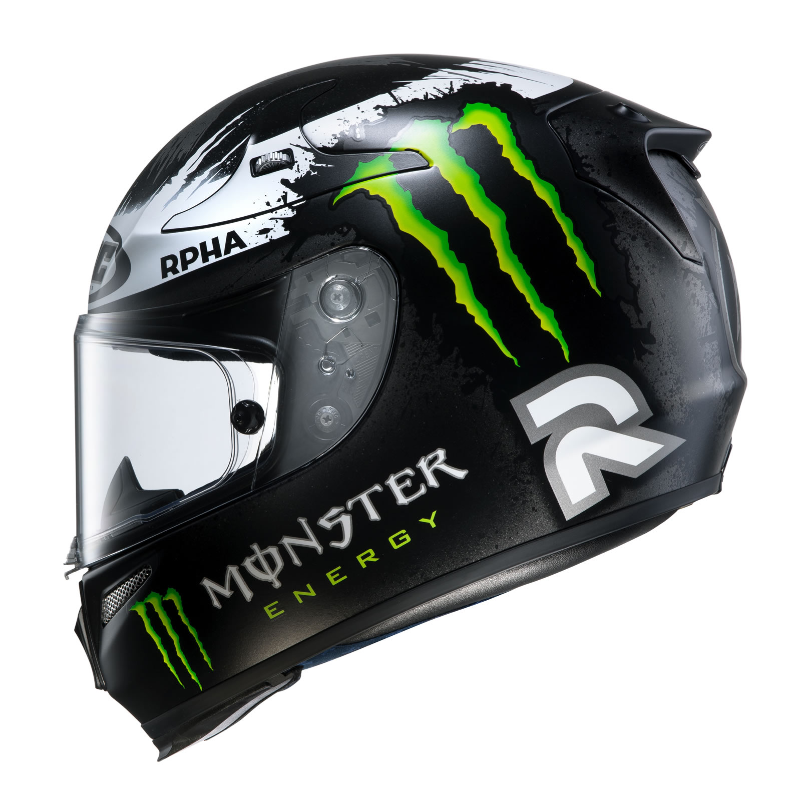hjc rpha 10 lorenzo replica ghost fuera noir casque de moto monster energy ebay. Black Bedroom Furniture Sets. Home Design Ideas