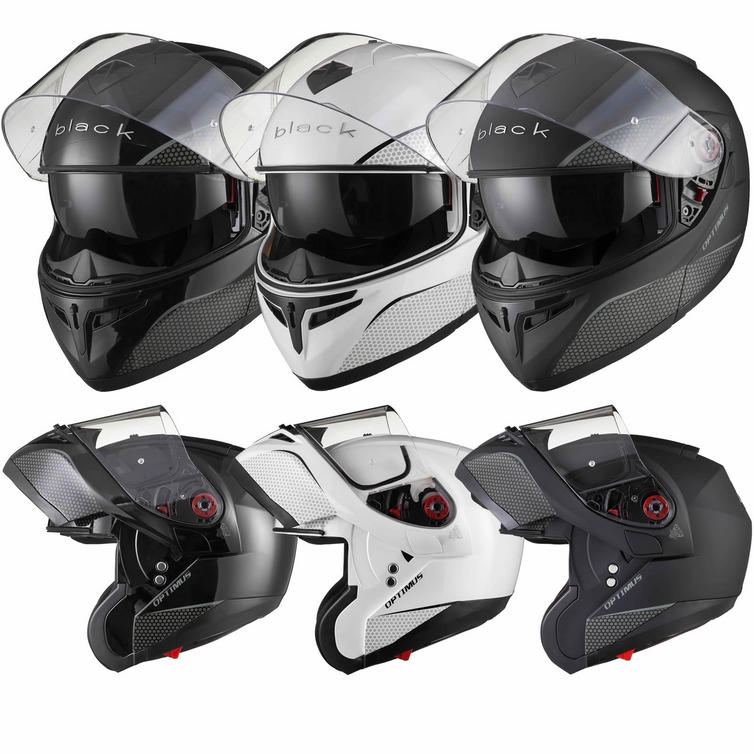 Black Optimus SV Flip Front Motorcycle Helmet