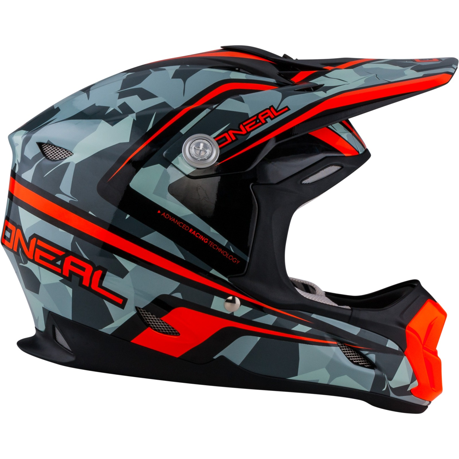 oneal 7 series camo grau orange motocross helm atv moto x. Black Bedroom Furniture Sets. Home Design Ideas