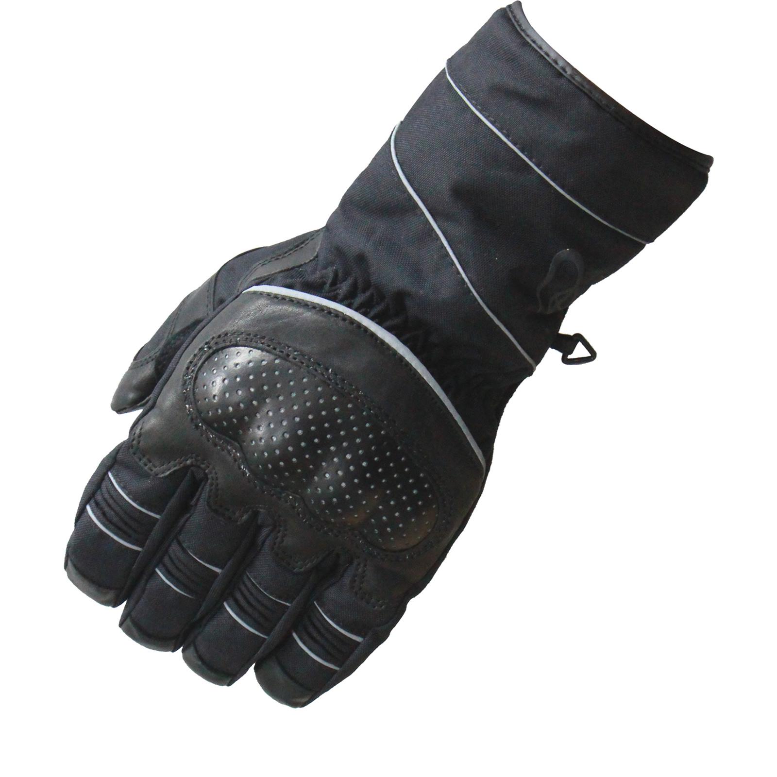 Black Winter Waterproof Leather Textile Motorcycle Gloves