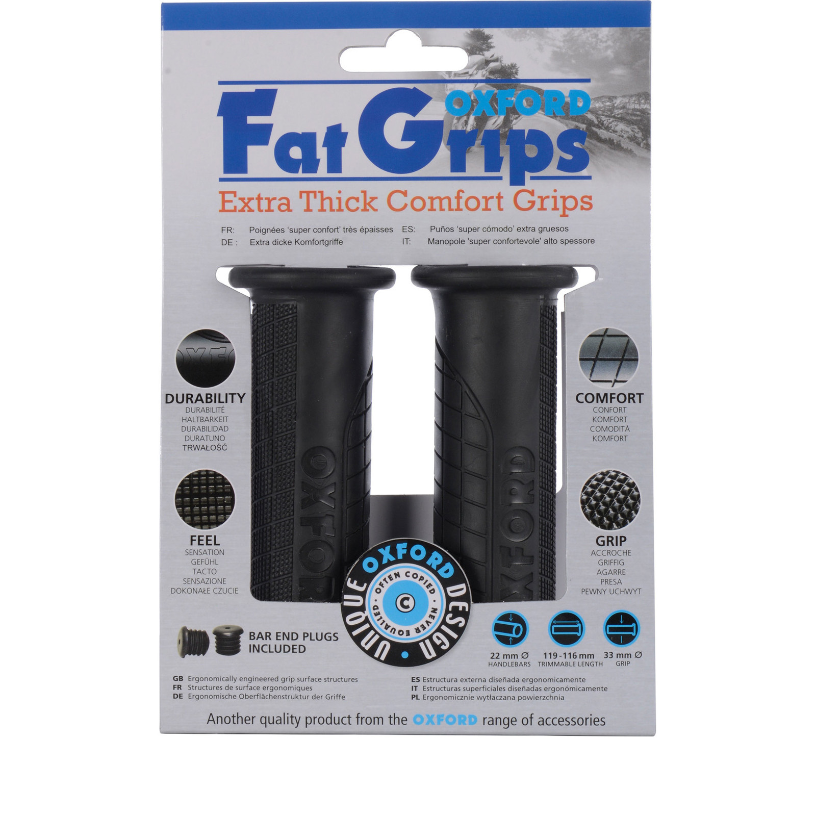 Oxford Motorcycle Fat Grips Motorbike Extra Thick Comfort