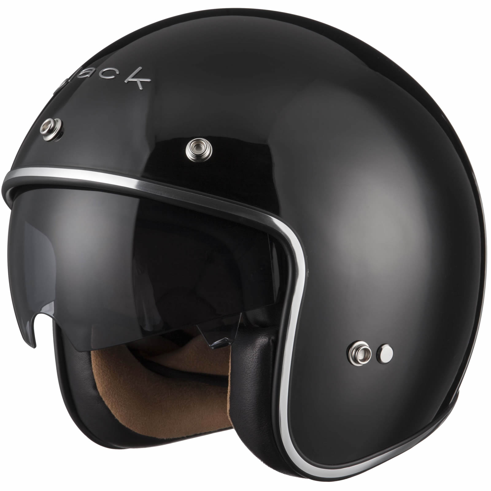 Black Classic Open Face Motorcycle Scooter Bike Helmet Inner Visor GhostBikes