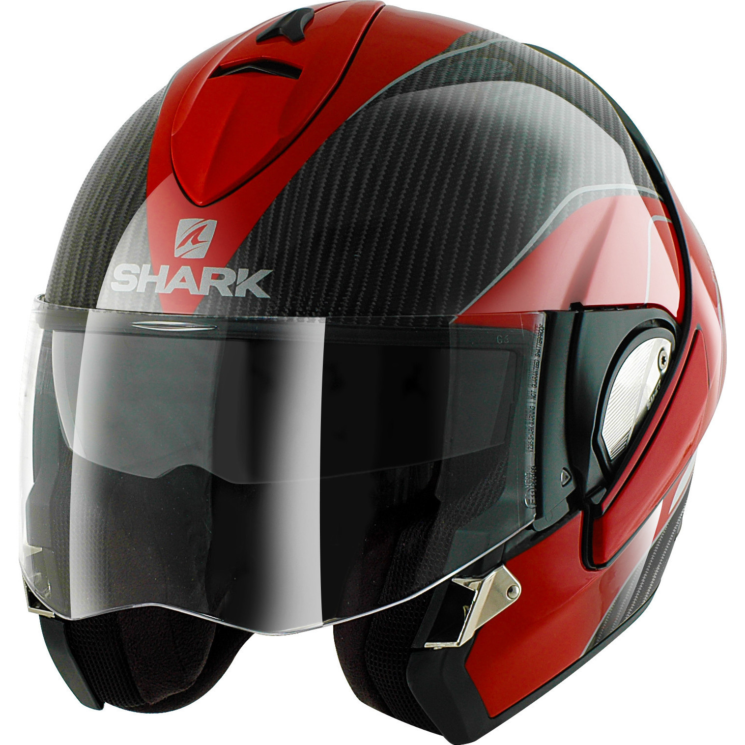 shark evoline pro carbon red white motorcycle helmet drw full open face crash ebay. Black Bedroom Furniture Sets. Home Design Ideas
