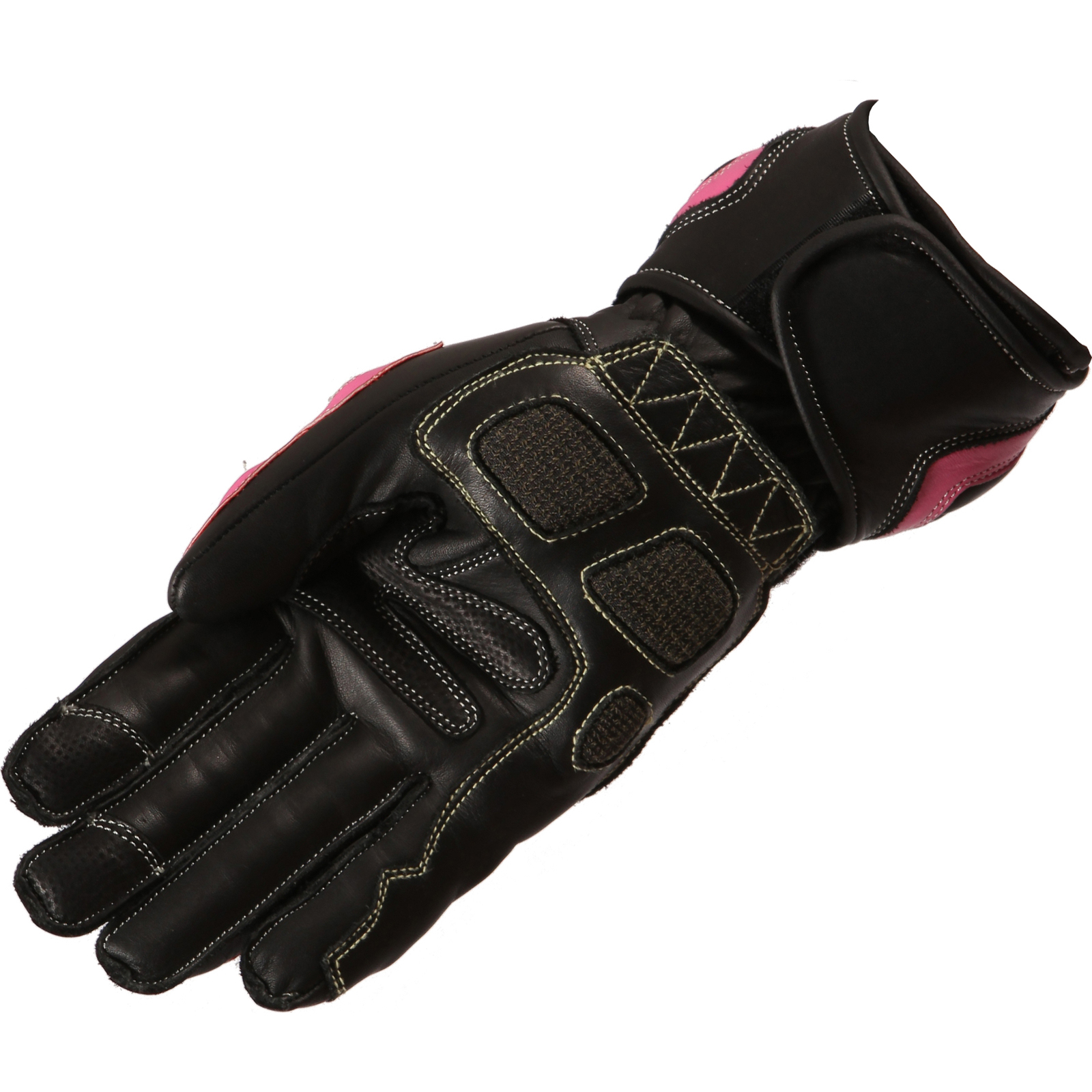 Motorcycle gloves pink - Buffalo Bay Ladies Motorcycle Gloves Leather Sport Hard