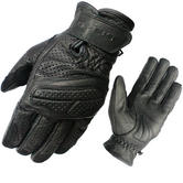 Black Active Leather Motorcycle Gloves