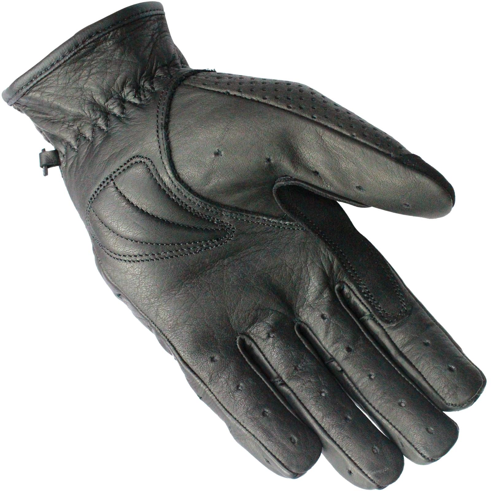 Black Active Leather Short Motorcycle Gloves Motorbike Bike Vented Summer Street