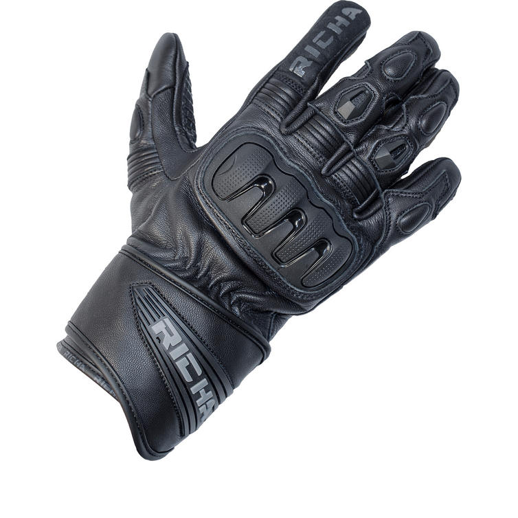Richa Dark Leather Motorcycle Gloves