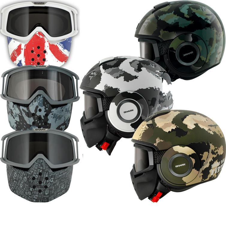 Shark Raw Kurtz Mat Motorcycle Helmet Plus Goggle & Mask Kit