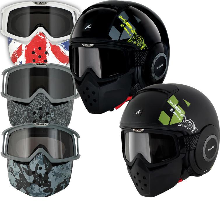 Shark Raw Kubrik Motorcycle Helmet Plus Goggle & Mask Kit