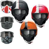 Shark Raw Stripe Motorcycle Helmet Plus Goggle & Mask Kit