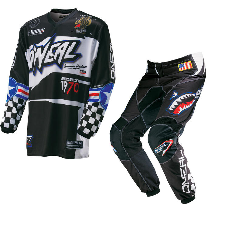 Oneal Element 2016 Afterburner Black Blue Motocross Kit