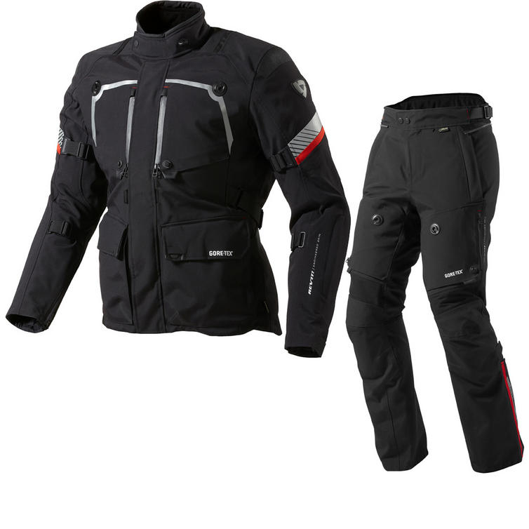 Rev It Poseidon GTX Motorcycle Jacket and Trousers Black Kit