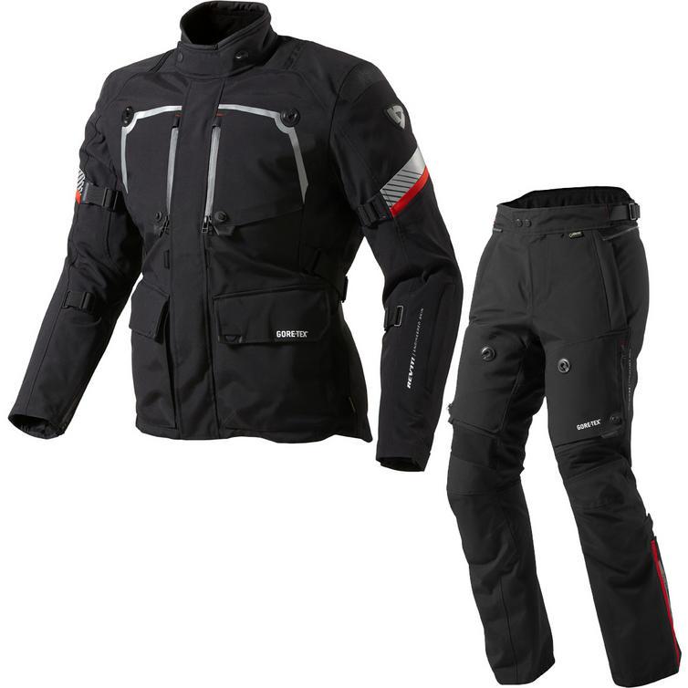 Rev It Poseidon GTX Motorcycle Jacket and Trousers Black Kit