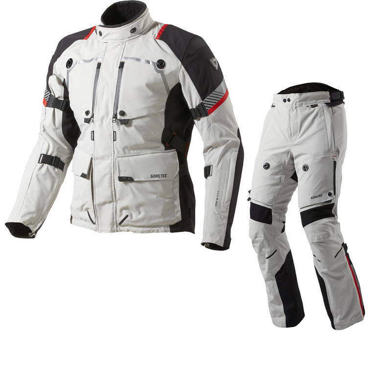 Rev It Poseidon GTX Motorcycle Jacket and Trousers Light Grey Black Kit