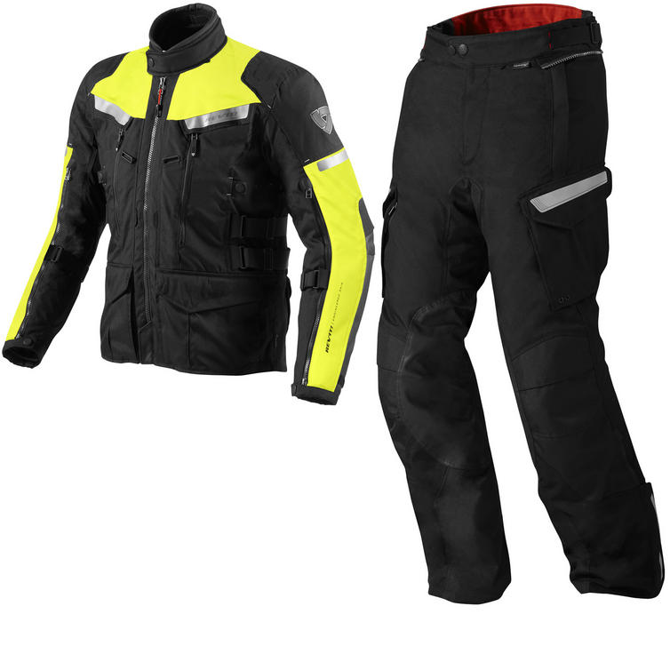 Rev It Sand 2 Motorcycle Jacket and Trousers Hi-Vis Black Kit