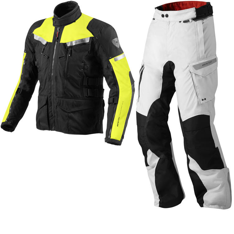 Rev It Sand 2 Motorcycle Jacket and Trousers Hi-Vis Silver Black Kit