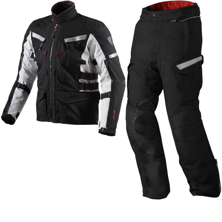 Rev It Sand 2 Motorcycle Jacket and Trousers Black Kit
