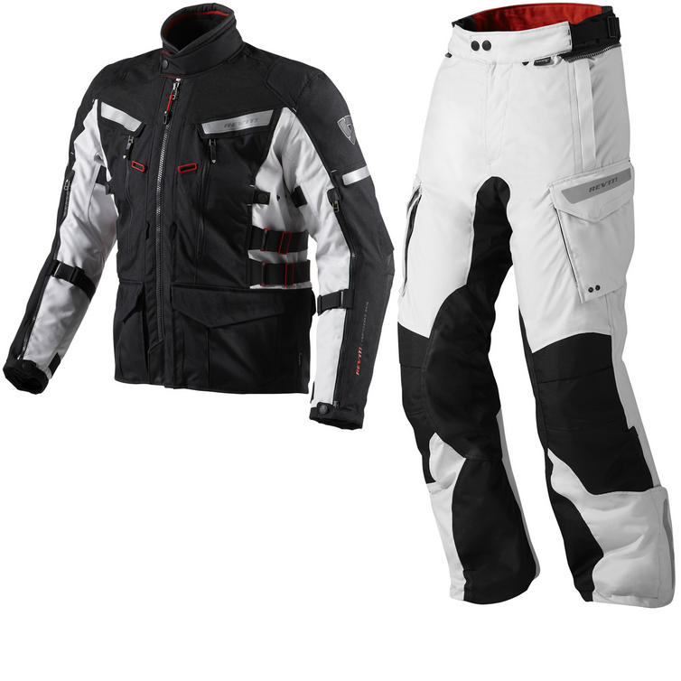 Rev It Sand 2 Motorcycle Jacket and Trousers Black Silver Black Kit