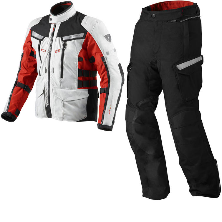 Rev It Sand 2 Motorcycle Jacket and Trousers Red Black Kit
