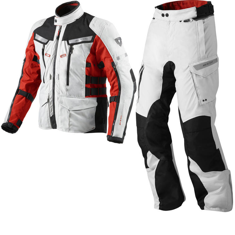 Rev It Sand 2 Motorcycle Jacket and Trousers Silver Red Silver Black Kit